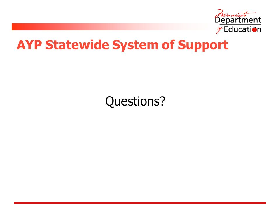 AYP Statewide System of Support Questions?