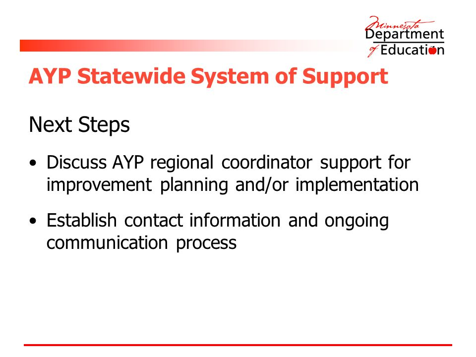 AYP Statewide System of Support Next Steps Discuss AYP regional coordinator support for improvement planning and/or implementation Establish contact information and ongoing communication process