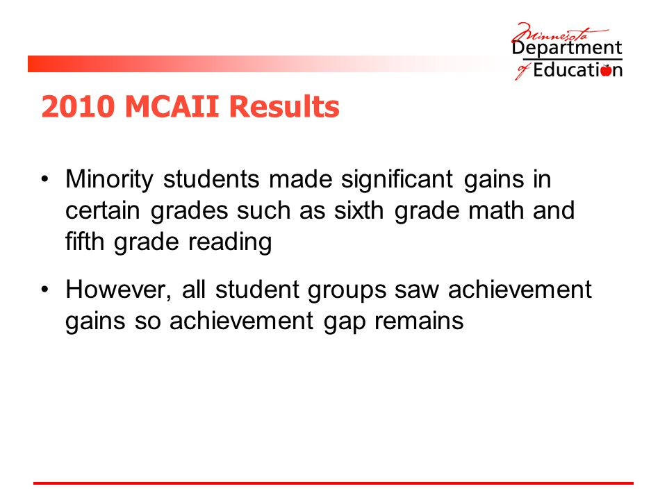 2010 MCAII Results Minority students made significant gains in certain grades such as sixth grade math and fifth grade reading However, all student groups saw achievement gains so achievement gap remains