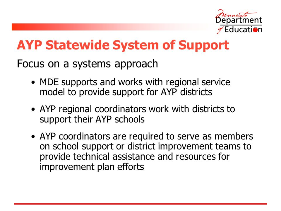 AYP Statewide System of Support Focus on a systems approach MDE supports and works with regional service model to provide support for AYP districts AYP regional coordinators work with districts to support their AYP schools AYP coordinators are required to serve as members on school support or district improvement teams to provide technical assistance and resources for improvement plan efforts