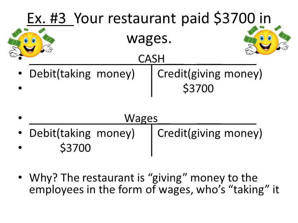 Ex. #3 Your restaurant paid $3700 in wages.
