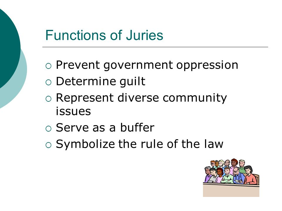 Functions of Juries  Prevent government oppression  Determine guilt  Represent diverse community issues  Serve as a buffer  Symbolize the rule of the law