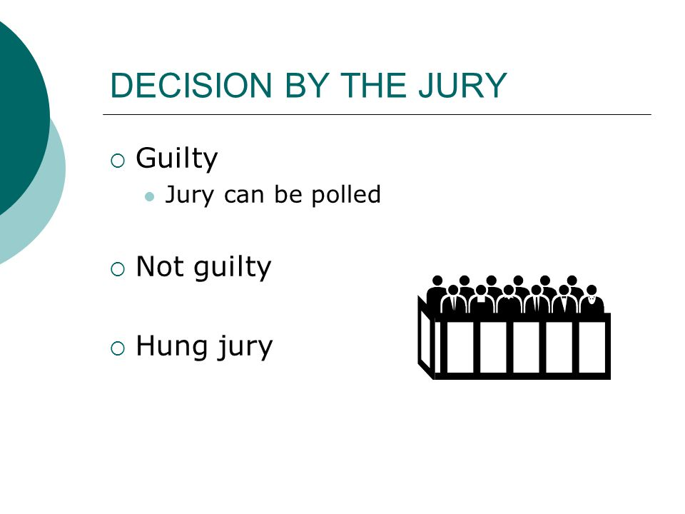 DECISION BY THE JURY  Guilty Jury can be polled  Not guilty  Hung jury