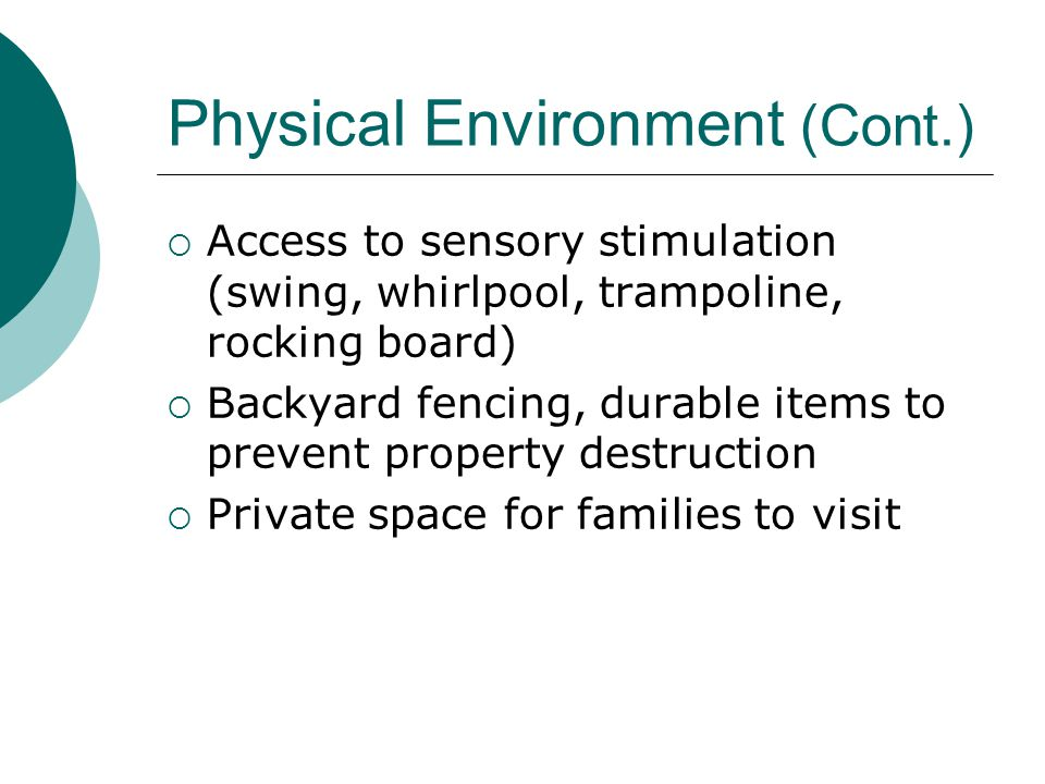 Physical Environment (Cont.)  Access to sensory stimulation (swing, whirlpool, trampoline, rocking board)  Backyard fencing, durable items to prevent property destruction  Private space for families to visit