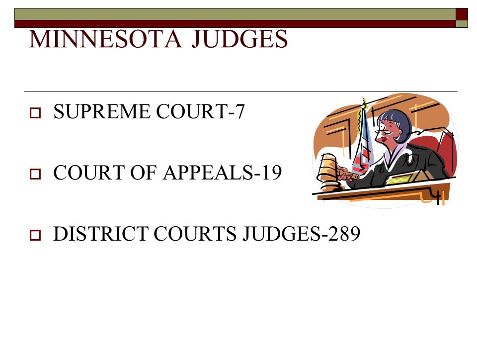 MINNESOTA JUDGES  SUPREME COURT-7  COURT OF APPEALS-19  DISTRICT COURTS JUDGES-289