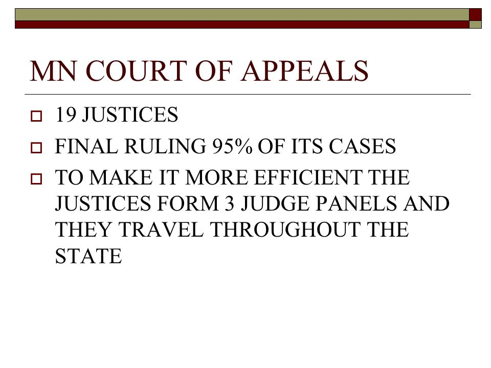 MN COURT OF APPEALS  19 JUSTICES  FINAL RULING 95% OF ITS CASES  TO MAKE IT MORE EFFICIENT THE JUSTICES FORM 3 JUDGE PANELS AND THEY TRAVEL THROUGHOUT THE STATE