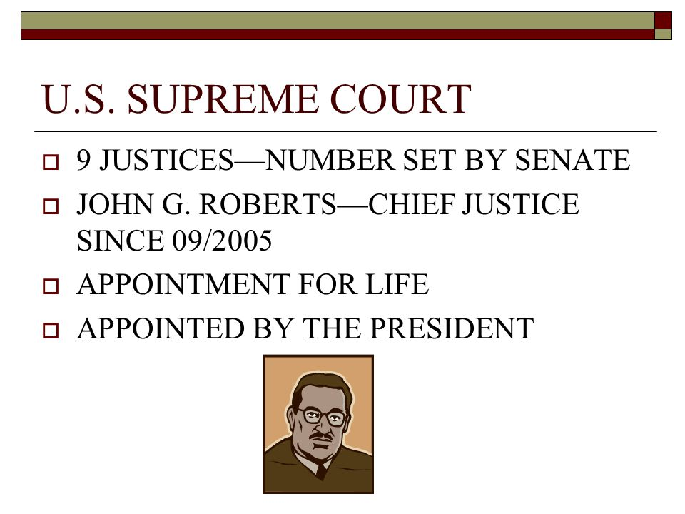 U.S. SUPREME COURT  9 JUSTICES—NUMBER SET BY SENATE  JOHN G.