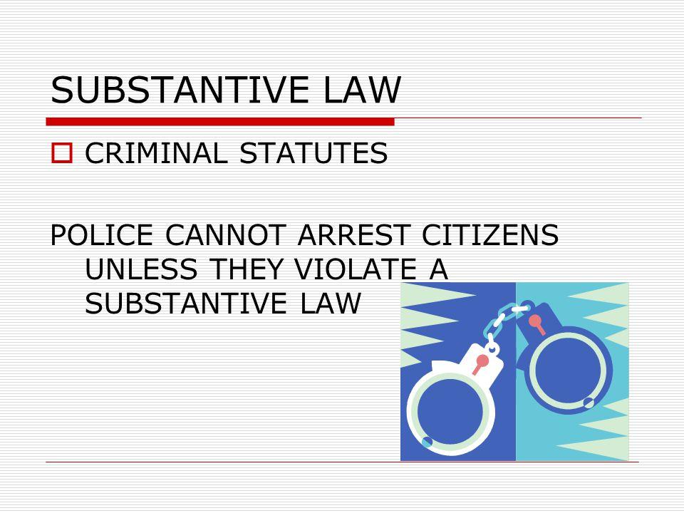 FOUR TYPES OF LAW  SUBSTANTIVE LAW  PROCEDURAL LAW  CIVIL LAW  CASE LAW