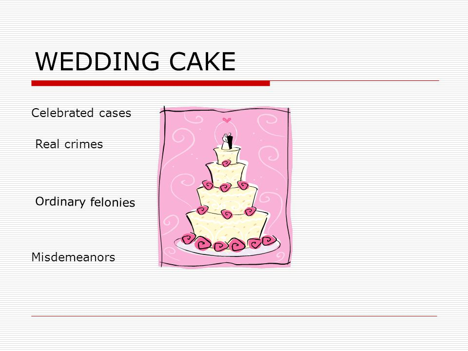 MODELS OF CRIMINAL JUSTICE  Wedding Cake  Seriousness of charge  Past criminal record  Relationship of victim to offender  Was victim injured  G