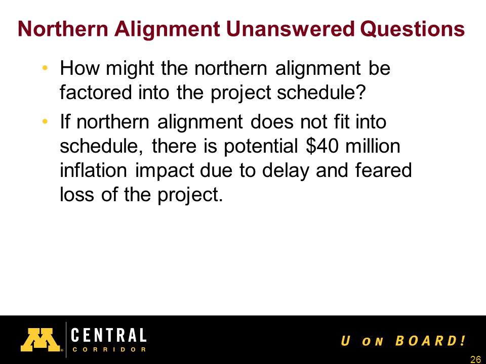 26 Northern Alignment Unanswered Questions How might the northern alignment be factored into the project schedule.