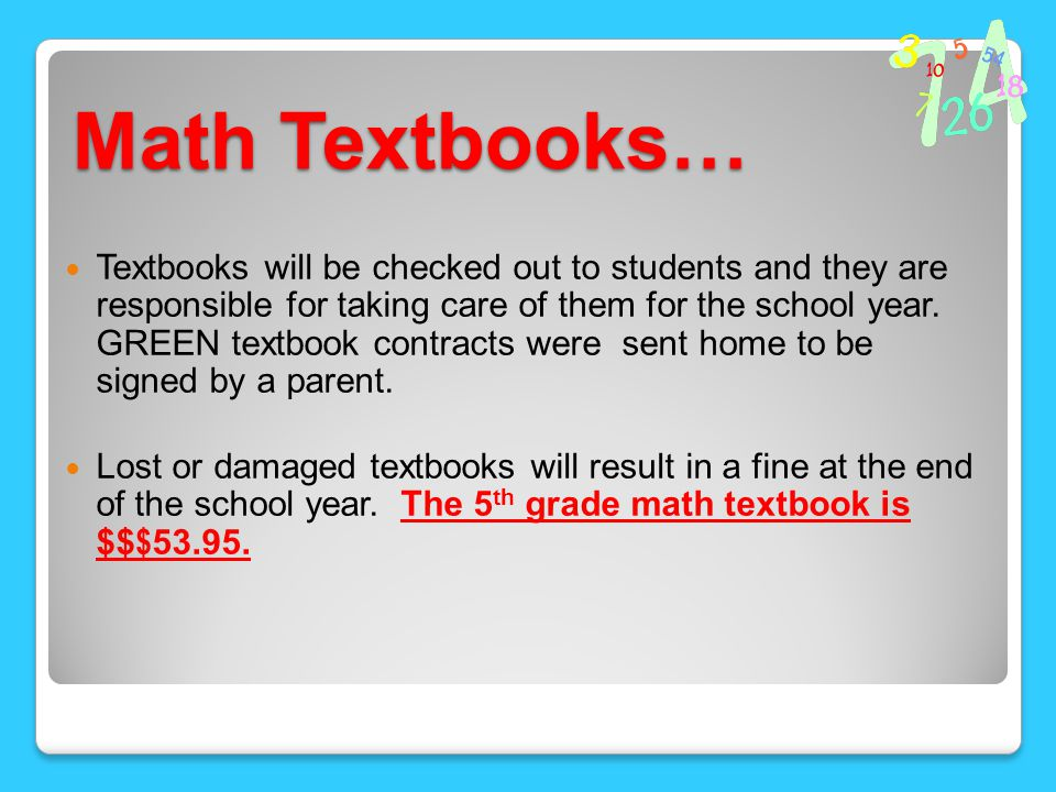 Math Resources my.hrw.com Each student will receive a green sheet of paper that includes their username and password.