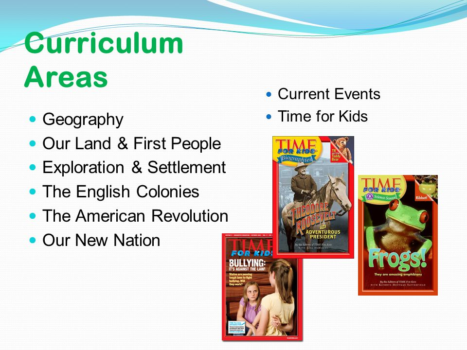 Curriculum Areas Geography Our Land & First People Exploration & Settlement The English Colonies The American Revolution Our New Nation Current Events Time for Kids
