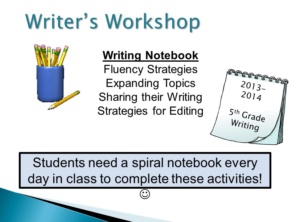 Writing Notebook Fluency Strategies Expanding Topics Sharing their Writing Strategies for Editing 2013- 2014 5 th Grade Writing Writer's Workshop Stud