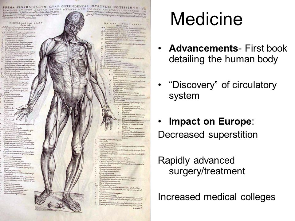 "Medicine Advancements- First book detailing the human body ""Discovery"" of circulatory system Impact on Europe: Decreased superstition Rapidly advanced"