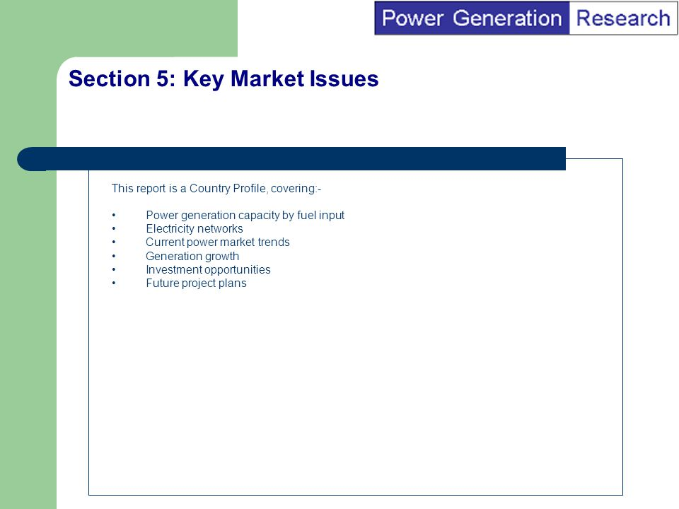 BI Marketing Analyst input into report marketing Section 5: Key Market Issues This report is a Country Profile, covering:- Power generation capacity by fuel input Electricity networks Current power market trends Generation growth Investment opportunities Future project plans