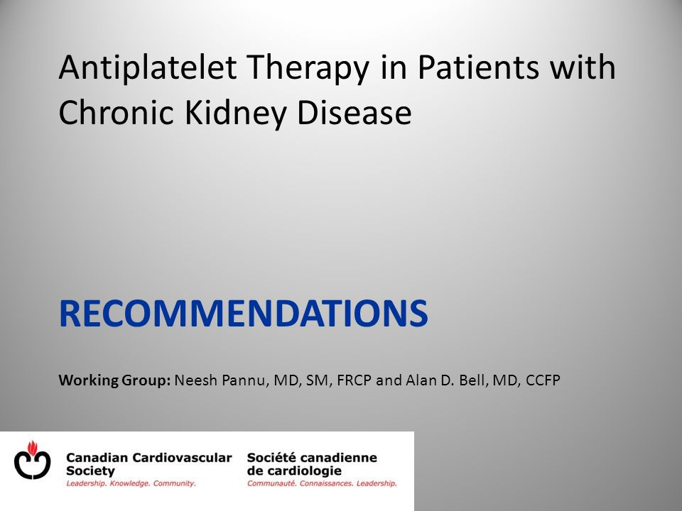 Antiplatelet Therapy in Patients with Chronic Kidney Disease RECOMMENDATIONS Working Group: Neesh Pannu, MD, SM, FRCP and Alan D.