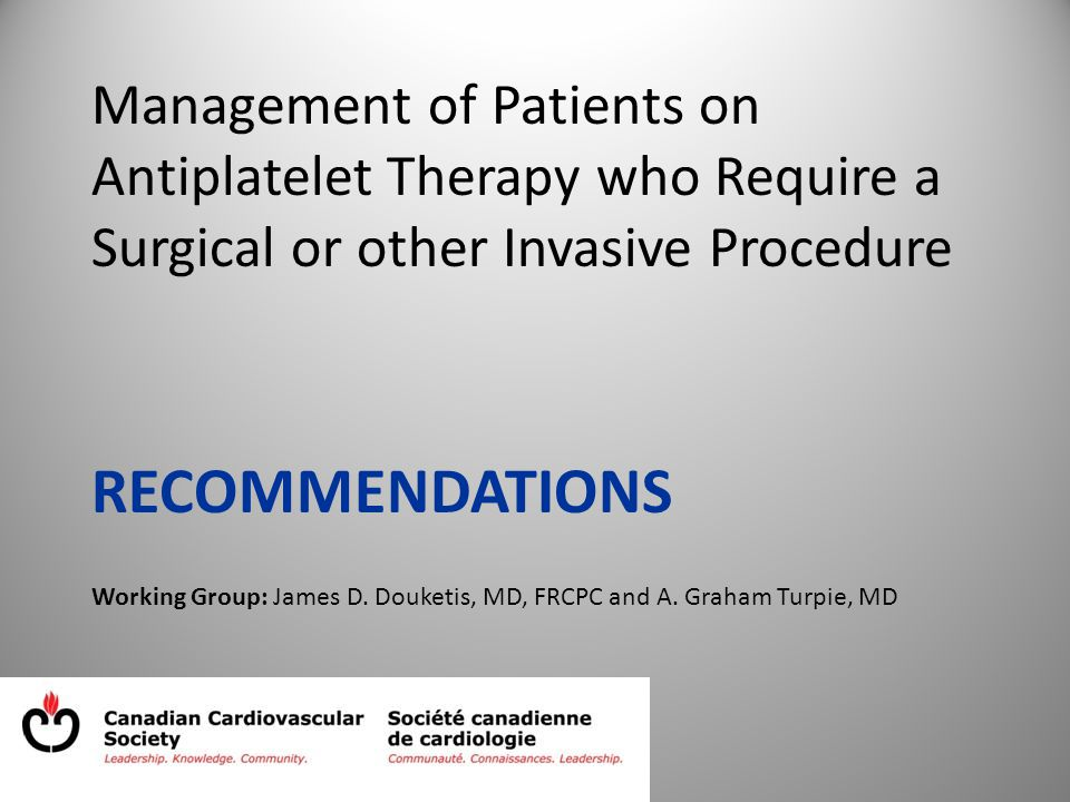 Management of Patients on Antiplatelet Therapy who Require a Surgical or other Invasive Procedure RECOMMENDATIONS Working Group: James D.