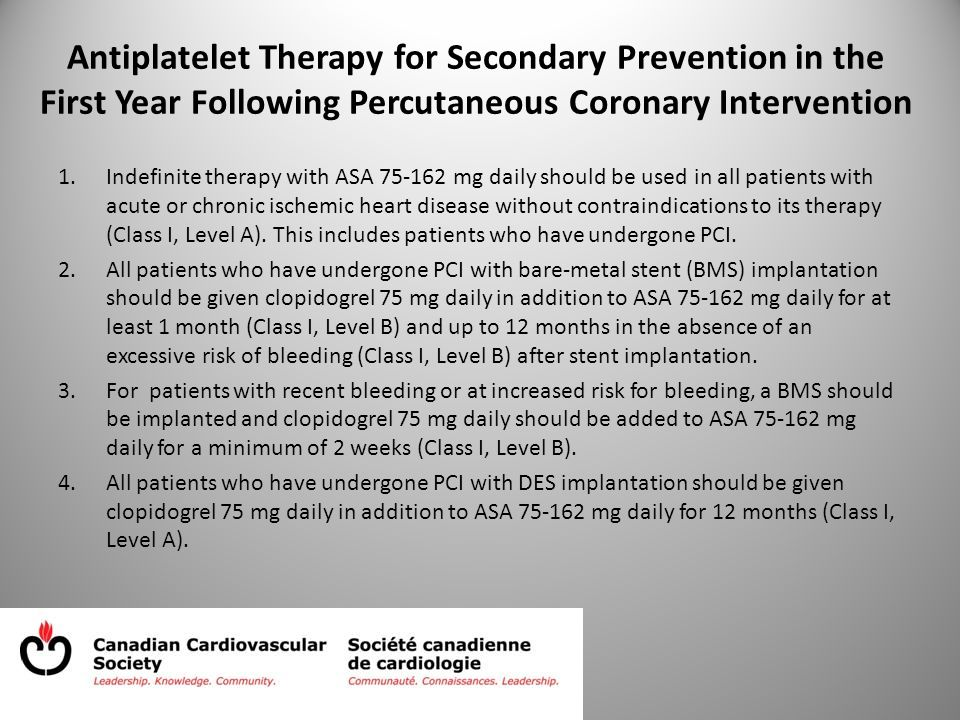 Antiplatelet Therapy for Secondary Prevention in the First Year Following Percutaneous Coronary Intervention 1.Indefinite therapy with ASA 75-162 mg daily should be used in all patients with acute or chronic ischemic heart disease without contraindications to its therapy (Class I, Level A).