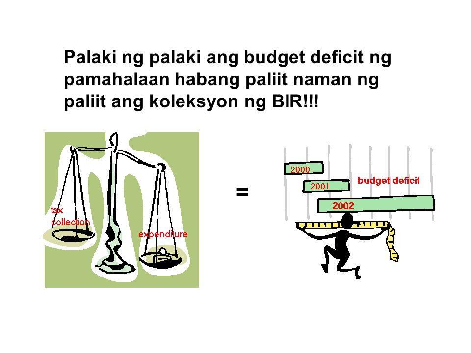 Palaki ng palaki ang budget deficit ng pamahalaan habang paliit naman ng paliit ang koleksyon ng BIR!!! =