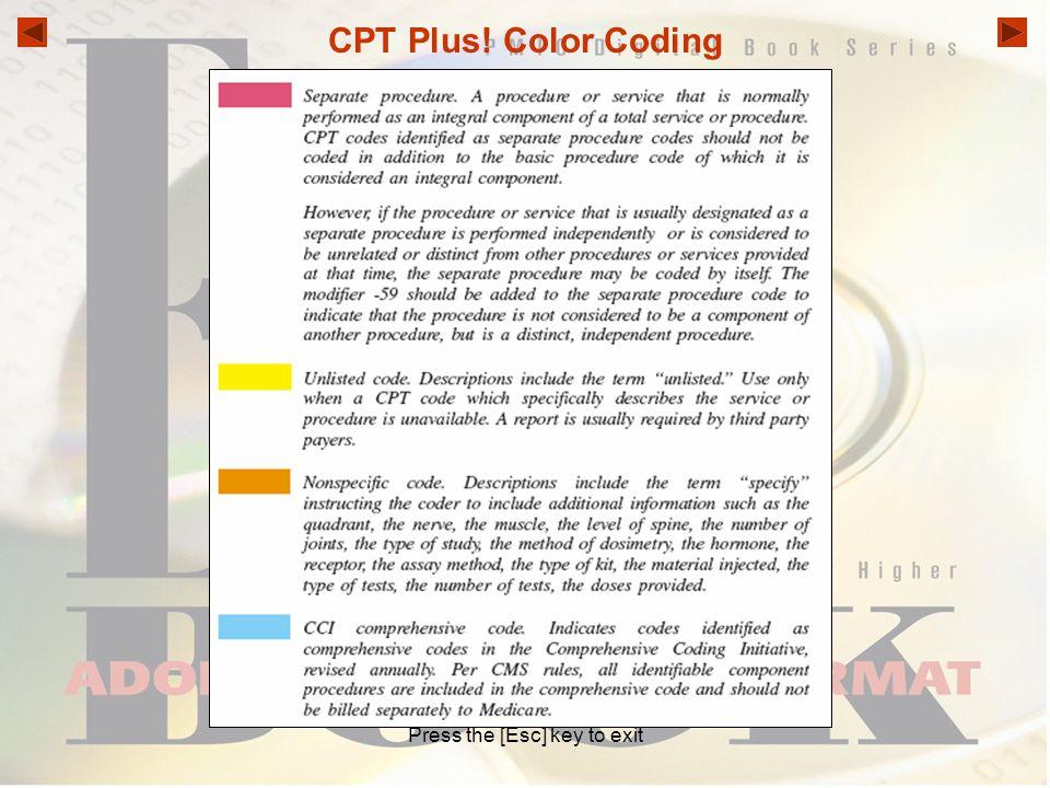 CPT Plus! Color Coding Press the [Esc] key to exit
