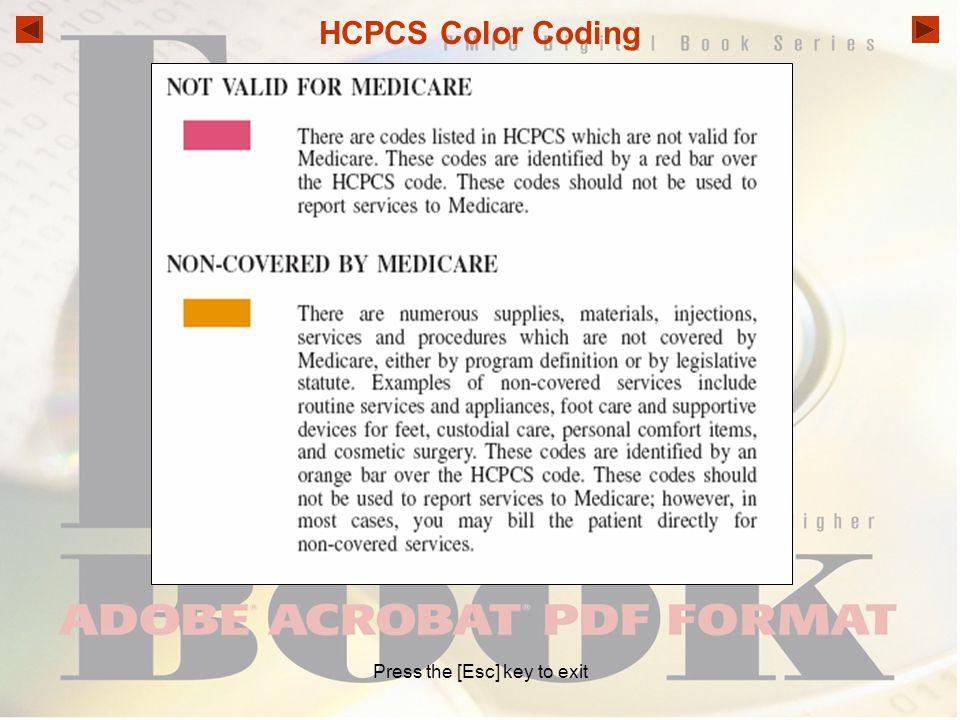 HCPCS Color Coding Press the [Esc] key to exit