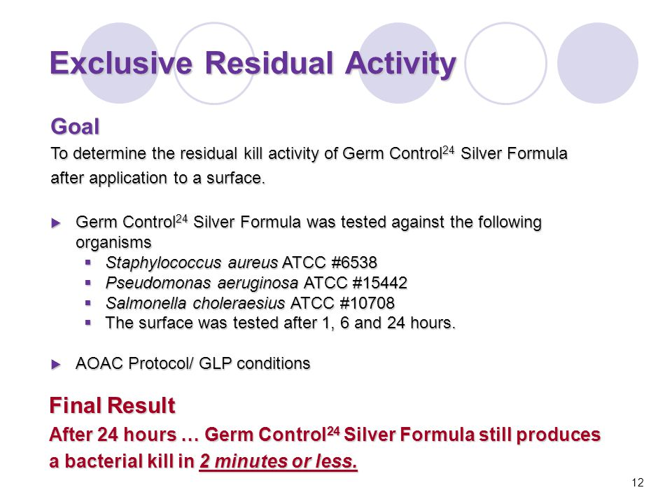 Goal To determine the residual kill activity of Germ Control 24 Silver Formula after application to a surface.