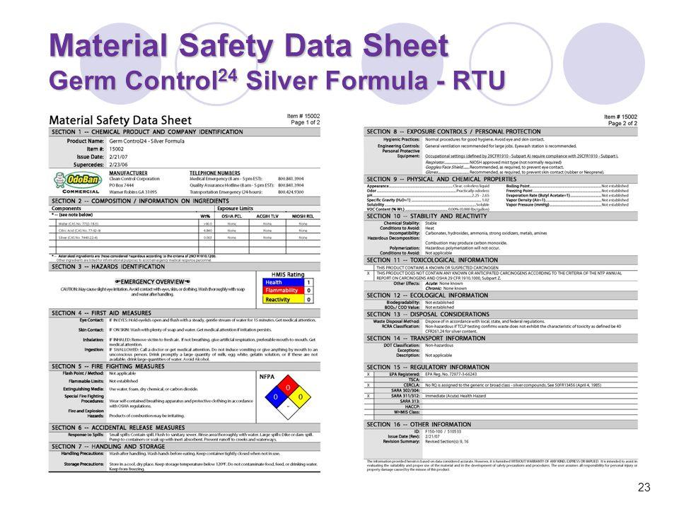Material Safety Data Sheet Germ Control 24 Silver Formula - RTU 23