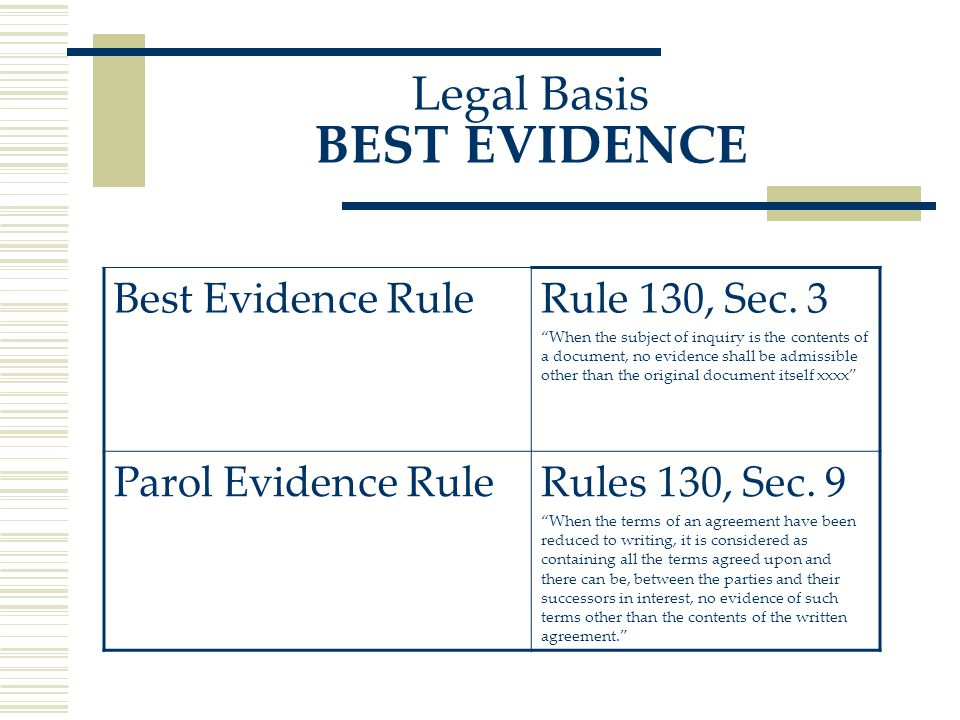 Legal Basis BEST EVIDENCE Best Evidence RuleRule 130, Sec.