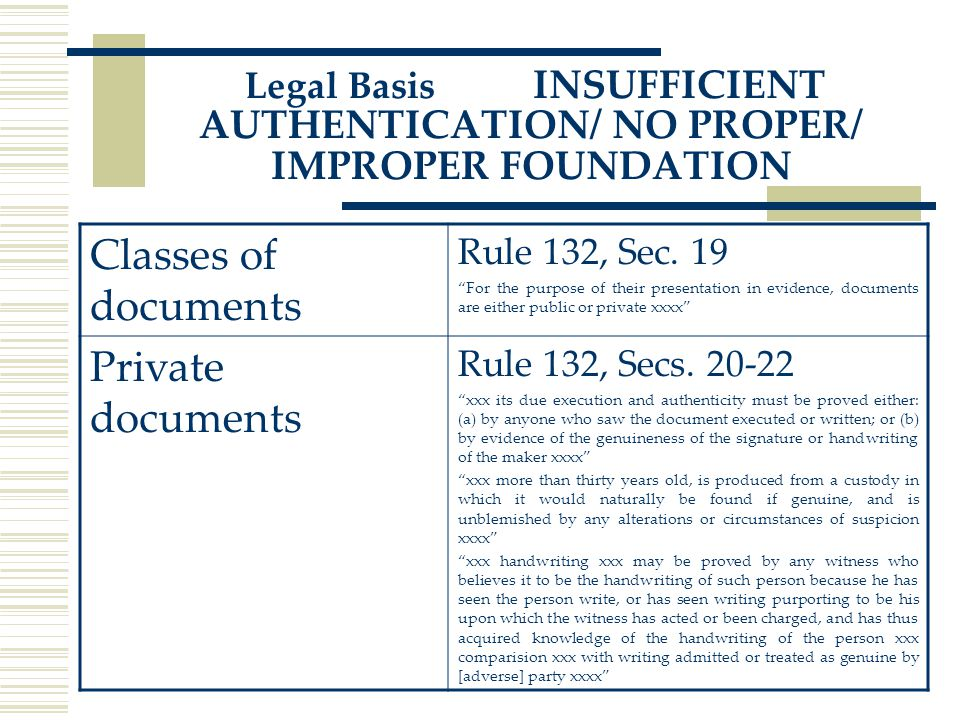 Legal Basis INSUFFICIENT AUTHENTICATION/ NO PROPER/ IMPROPER FOUNDATION Classes of documents Rule 132, Sec.