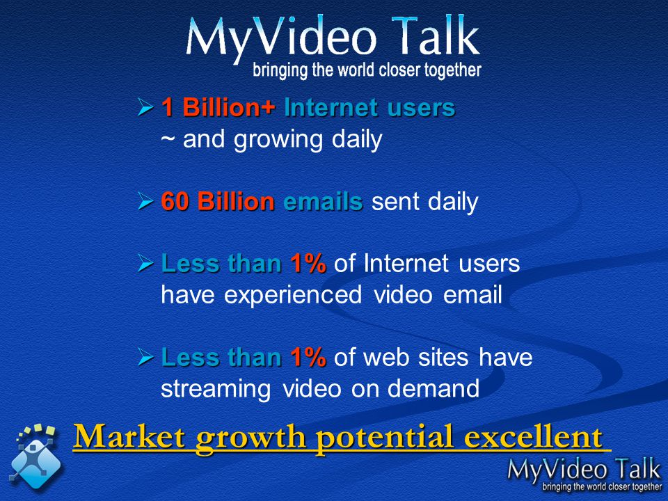  1  1 Billion+ Billion+ Internet users ~ and growing daily  60  60 Billion Billion emails emails sent daily  Less  Less than 1% 1% of Internet users have experienced video email  Less  Less than 1% 1% of web sites have streaming video on demand Market growth potential excellent