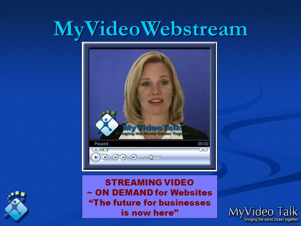 MyVideoWebstream STREAMING VIDEO ~ ON DEMAND for Websites The future for businesses is now here