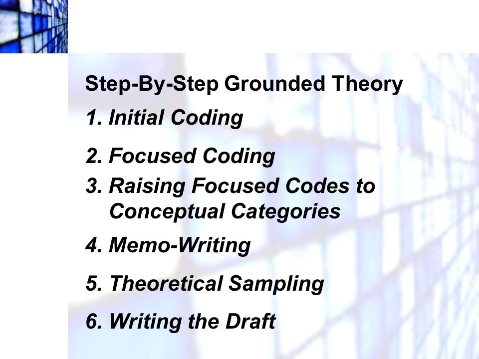 Step-By-Step Grounded Theory 1. Initial Coding 2. Focused Coding 3. Raising Focused Codes to Conceptual Categories 4. Memo-Writing 5. Theoretical Samp