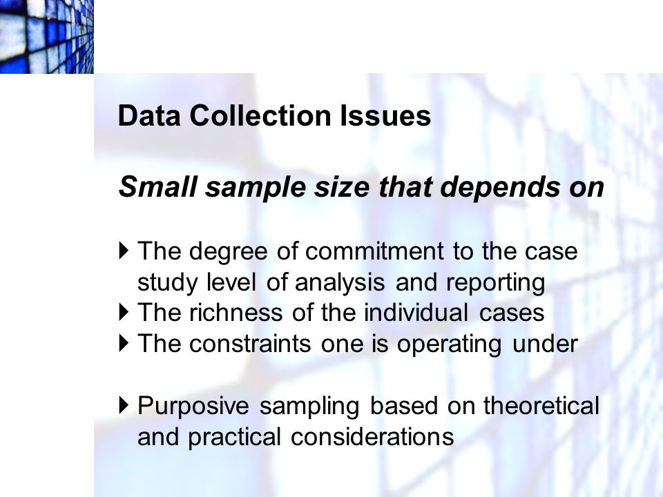 Data Collection Issues Semi-structured interviews  The goal is to encourage the person to speak about the topic with as little prompting from the interviewer as possible.