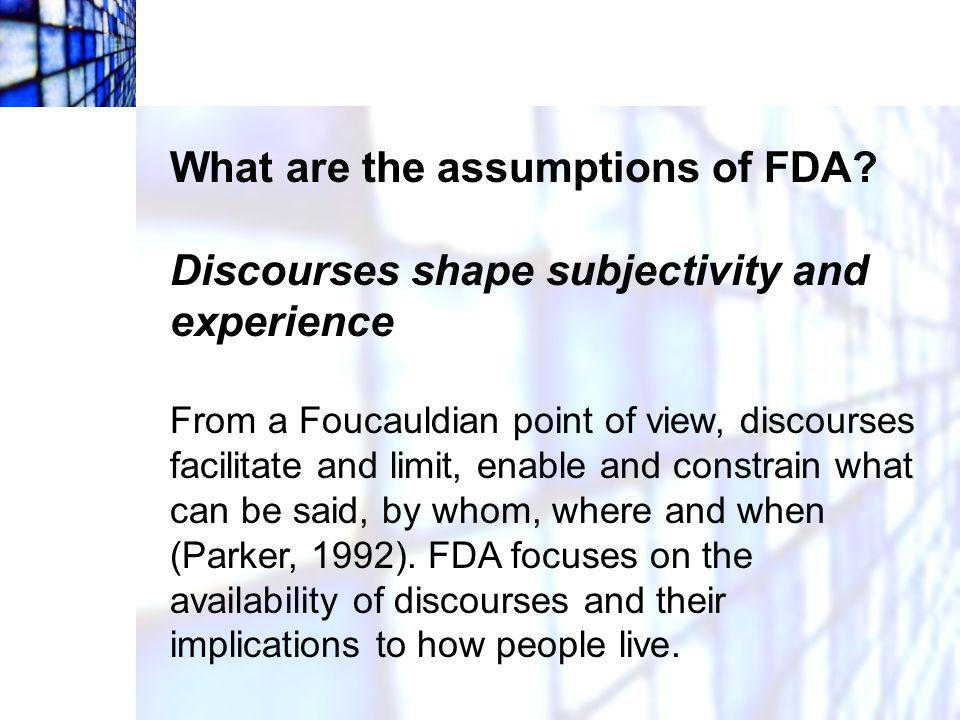 What are the assumptions of FDA.