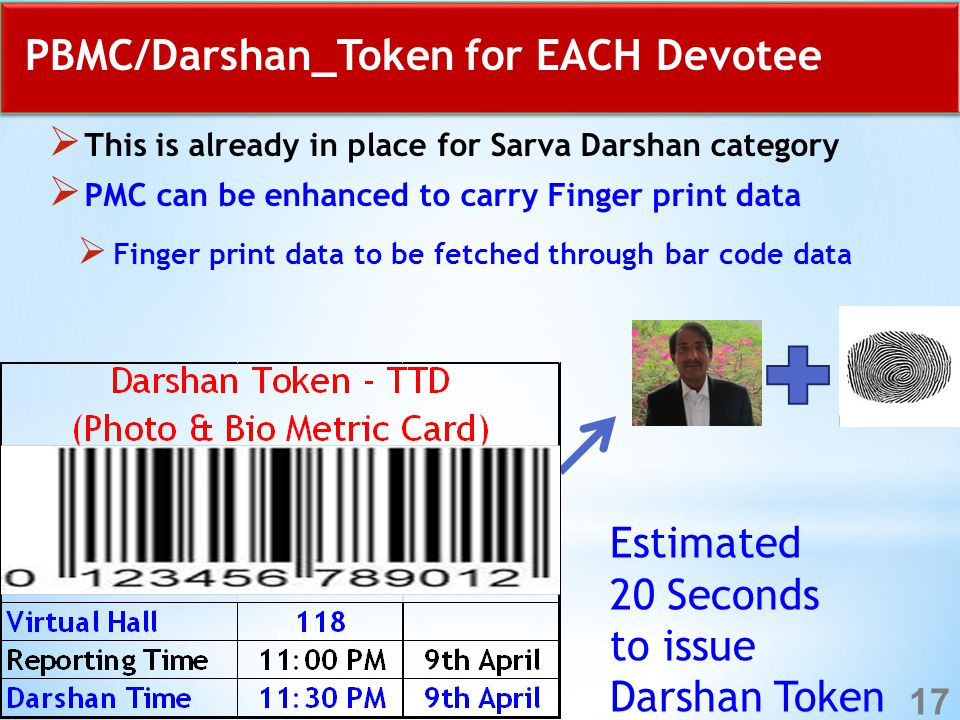 PBMC/Darshan_Token for EACH Devotee  This is already in place for Sarva Darshan category  PMC can be enhanced to carry Finger print data  Finger print data to be fetched through bar code data Estimated 20 Seconds to issue Darshan Token 17
