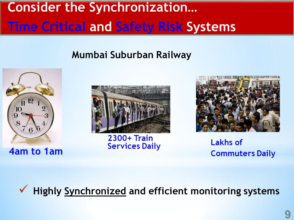 Consider the Synchronization… Time Critical and Safety Risk Systems Highly Synchronized and efficient monitoring systems Mumbai Suburban Railway 4am to 1am 2300+ Train Services Daily Lakhs of Commuters Daily 9