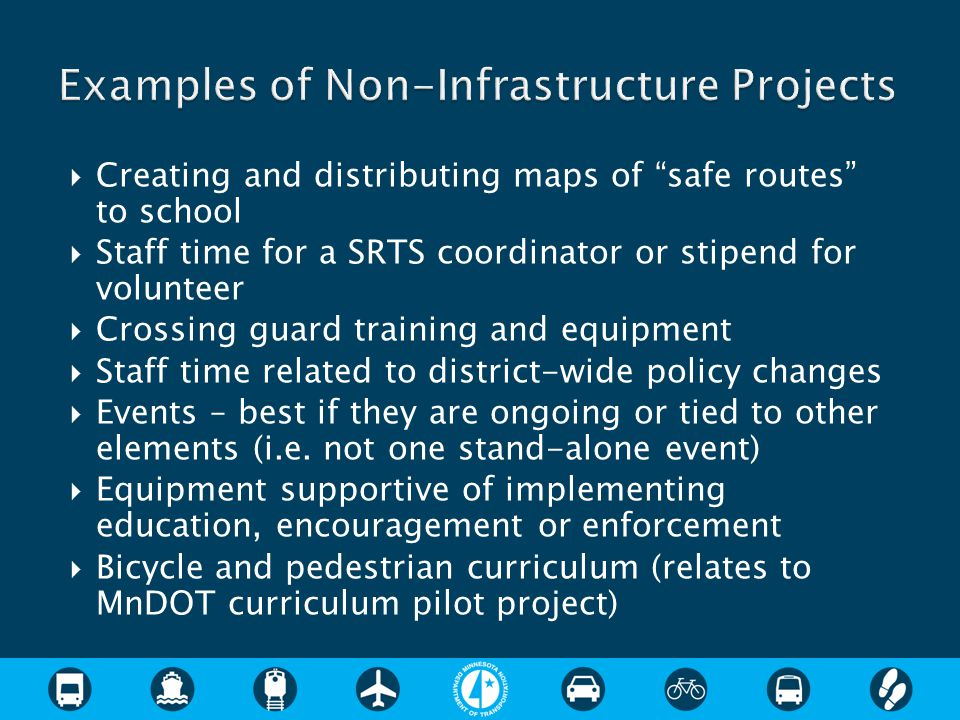 " Creating and distributing maps of ""safe routes"" to school  Staff time for a SRTS coordinator or stipend for volunteer  Crossing guard training and"