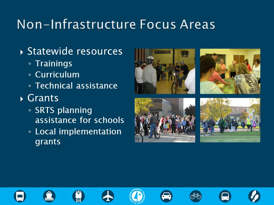  Identify issues and infrastructure and non- infrastructure solutions  Planning process includes assessment, vision and goal setting, public engagement, and action plan  Time frame for plan development is one year