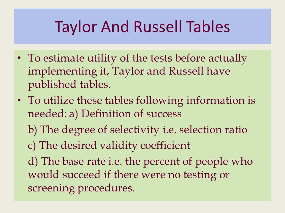 Taylor And Russell Tables To estimate utility of the tests before actually implementing it, Taylor and Russell have published tables.