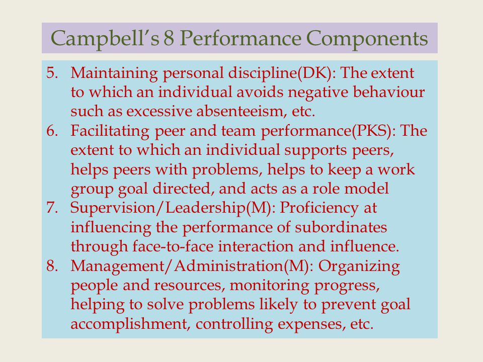 Campbell's 8 Performance Components 5.Maintaining personal discipline(DK): The extent to which an individual avoids negative behaviour such as excessive absenteeism, etc.