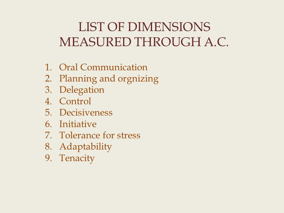LIST OF DIMENSIONS MEASURED THROUGH A.C.