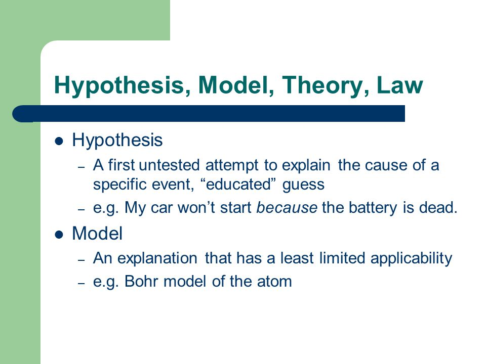 Hypothesis, Model, Theory, Law - 2 A scientific theory or law represents a hypothesis, or a group of related hypotheses, which has been confirmed through repeated experimental tests.