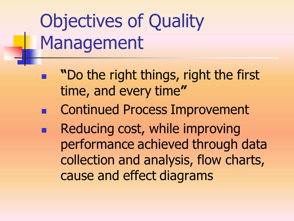 Objectives of Quality Management Do the right things, right the first time, and every time Continued Process Improvement Reducing cost, while improving performance achieved through data collection and analysis, flow charts, cause and effect diagrams