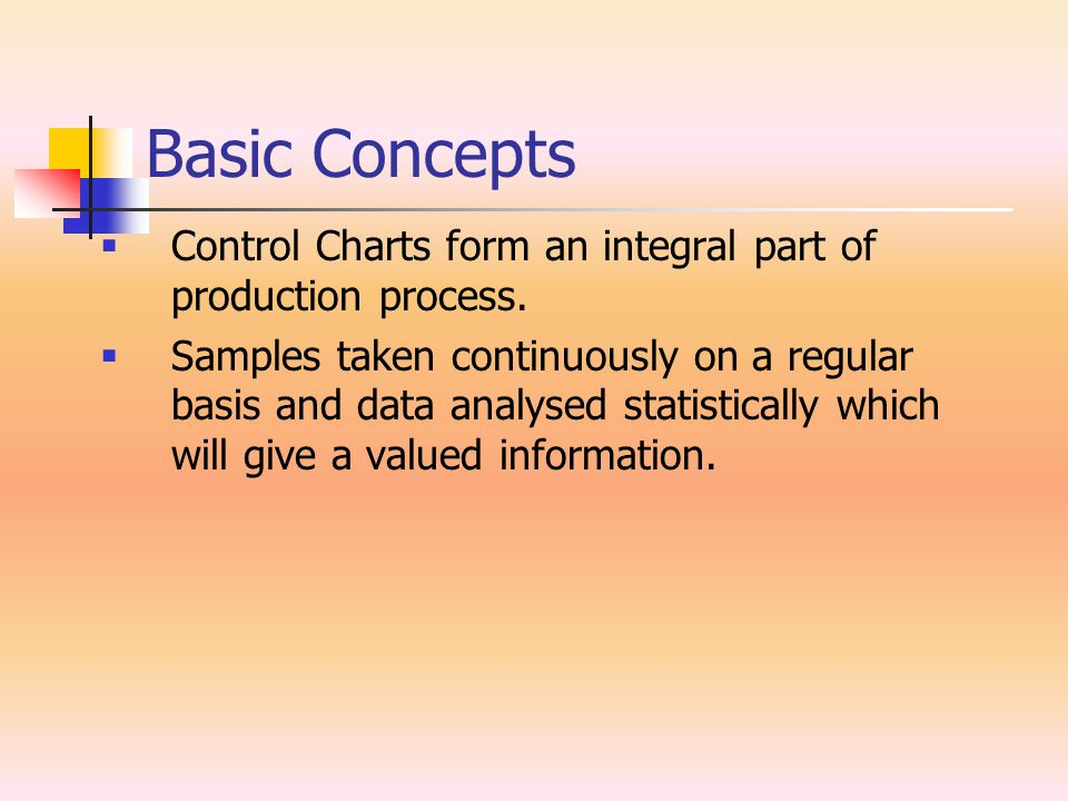Basic Concepts  Control Charts form an integral part of production process.