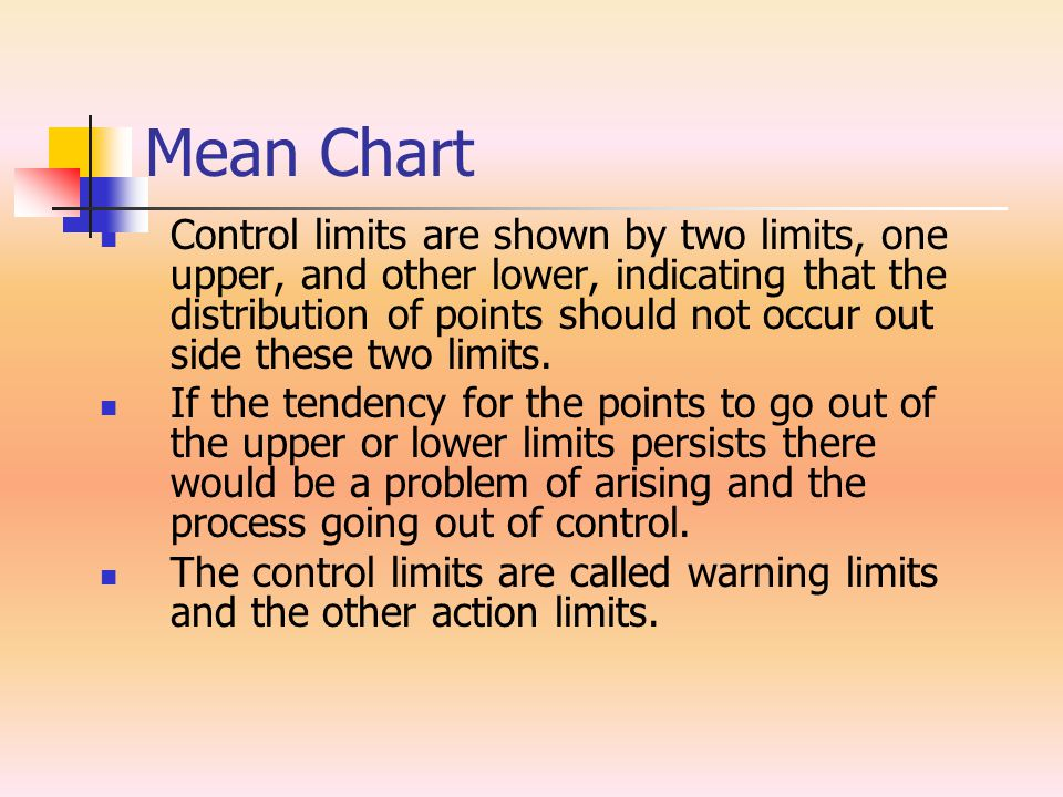 Mean Chart Control limits are shown by two limits, one upper, and other lower, indicating that the distribution of points should not occur out side th