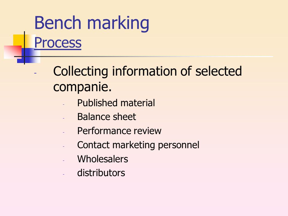 Bench marking Process - Collecting information of selected companie.