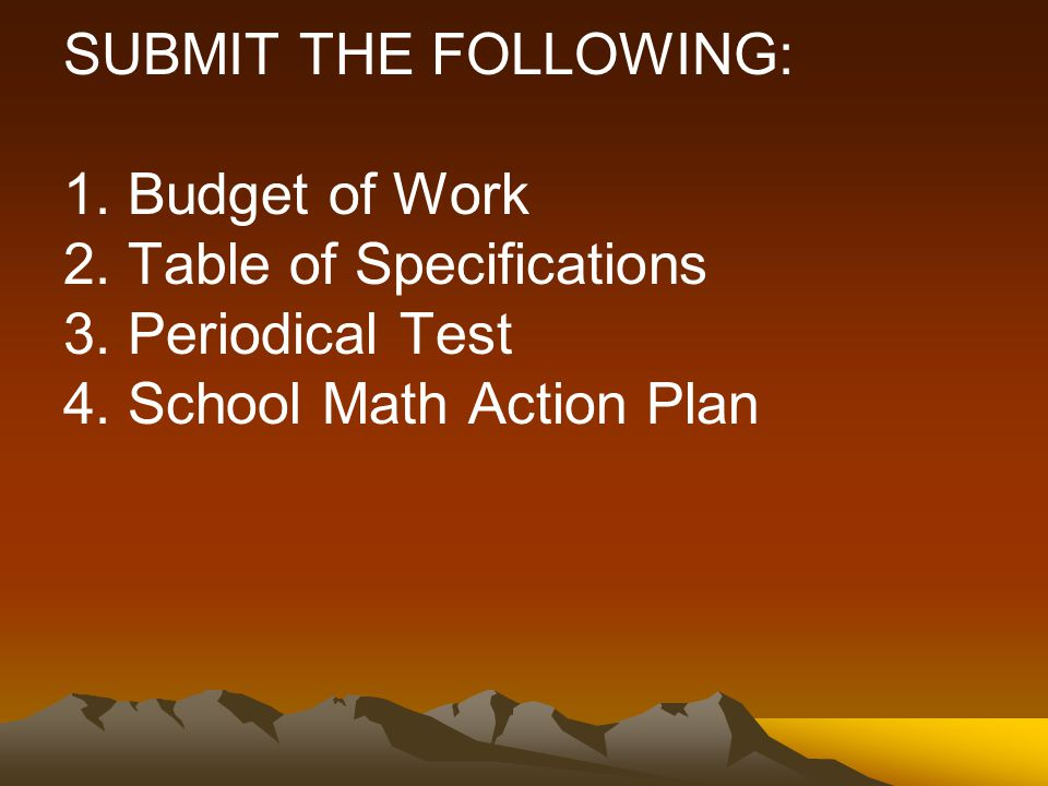 SUBMIT THE FOLLOWING: 1.Budget of Work 2. Table of Specifications 3.