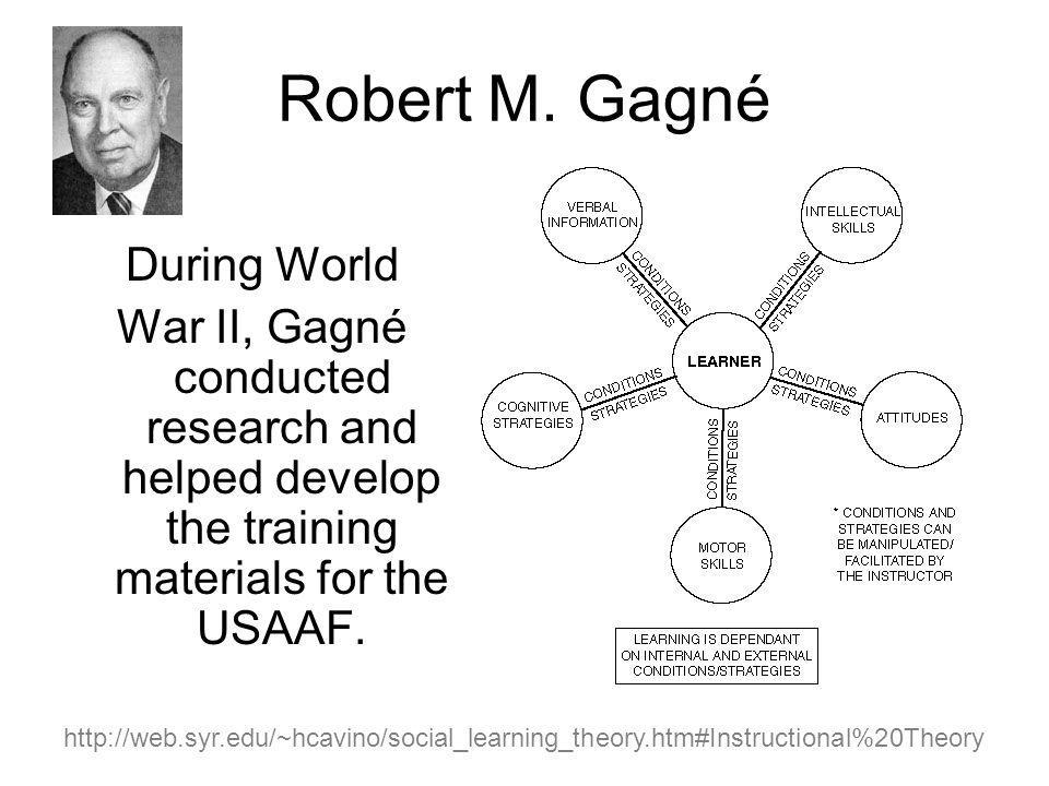 During World War II, Gagné conducted research and helped develop the training materials for the USAAF.