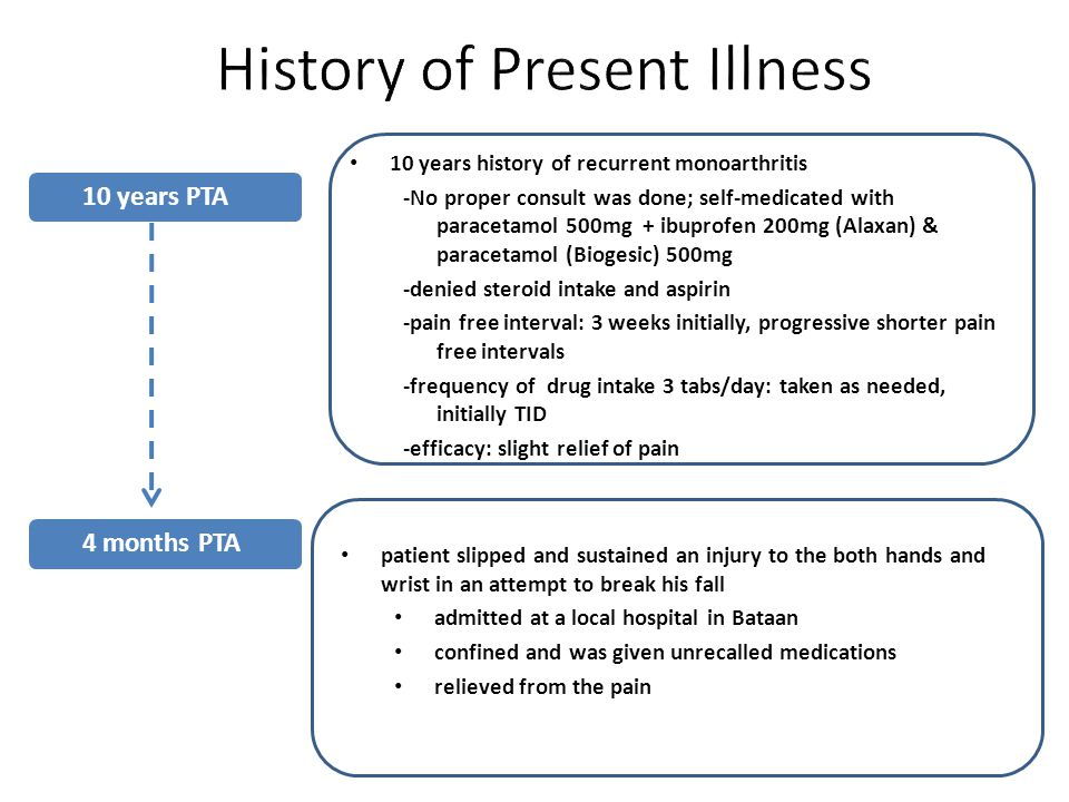 10 years history of recurrent monoarthritis -No proper consult was done; self-medicated with paracetamol 500mg + ibuprofen 200mg (Alaxan) & paracetamol (Biogesic) 500mg -denied steroid intake and aspirin -pain free interval: 3 weeks initially, progressive shorter pain free intervals -frequency of drug intake 3 tabs/day: taken as needed, initially TID -efficacy: slight relief of pain 10 years PTA 4 months PTA patient slipped and sustained an injury to the both hands and wrist in an attempt to break his fall admitted at a local hospital in Bataan confined and was given unrecalled medications relieved from the pain