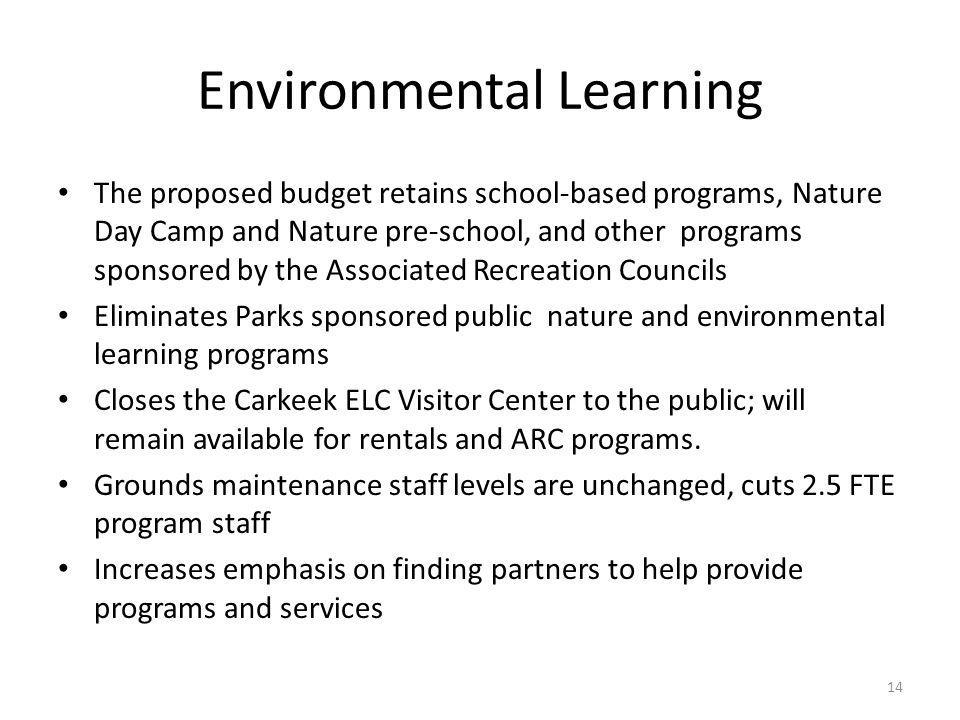 Environmental Learning The proposed budget retains school-based programs, Nature Day Camp and Nature pre-school, and other programs sponsored by the A
